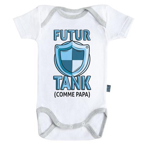 Futur tank comme papa (version garçon)- Body Bébé manches courtes - Coton - Blanc - Coutures grises
