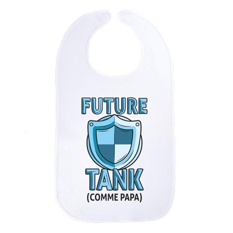 Future tank comme papa (version fille) - Maxi bavoir Bébé - Coton Blanc
