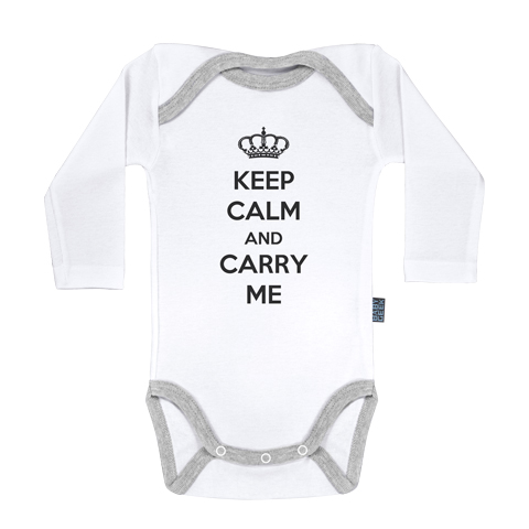 Keep Calm and Carry me - Body Bébé manches longues - Coton - Blanc