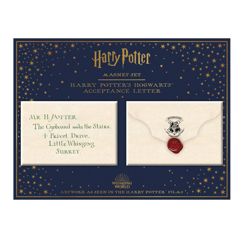 Set de 2 magnets Lettre d'acceptation d'Harry Potter à Poudlard