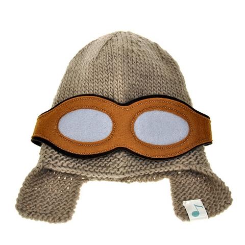 Bonnet Aviateur caramel - laine tricotée et doublure polaire