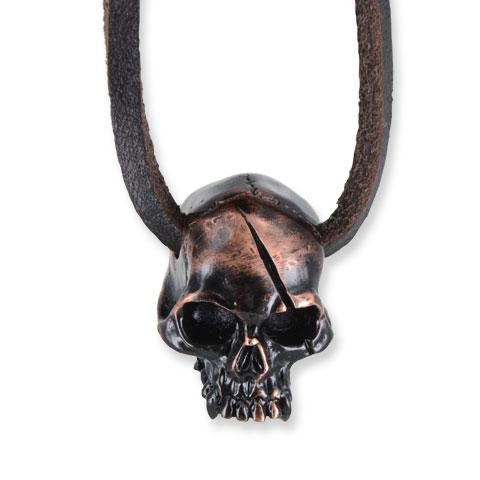 Captain Skull - pendentif étain finition noir/cuivre