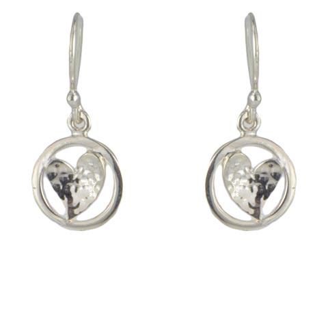 Beauté pure - Cœur martelé boucles d'oreilles - argent 925ème