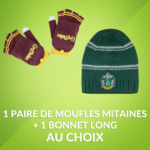 Pack moufles mitaines + bonnet tombant slouchy licence Harry Potter