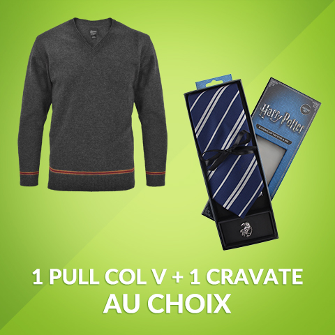 Pack pull col V + cravate deluxe licence Harry Potter